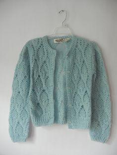 Vintage 50's Sweater Powder Blue Hand Knit by littleraisinvintage