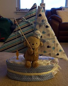 Diaper cake for @terri_fertitta #mylife #diapercake #sailboat #ahoymatey….... *** See even more at the photo