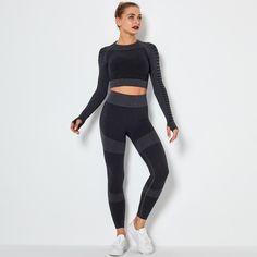 Fitness Yoga Set Gym 2-Piece Leggings Push Up Pants Suit Sportswear - TD Mercado Running Suit, Activewear Sets, Crop Top Bra, Women's Sports Bras, Women Sleeve, Tops For Leggings, Yoga Fitness, Active Wear, Sportswear