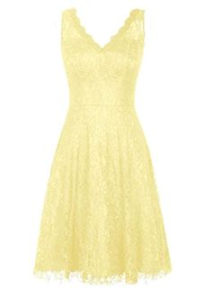 DaaDress Women's V-neck Lace Short Bridesmaid Dresses Prom Party Dresses Yellow US 6 DaaDress http://www.amazon.com/dp/B01B7H88PS/ref=cm_sw_r_pi_dp_glnUwb0C7ZP44