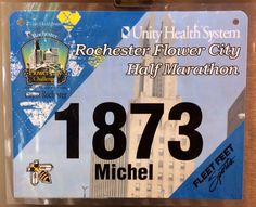 3rd Half Marathon - FLOWER CITY HALF.  April 27, 2014.  Rochester, NY.  Time 2:21:34hrs (10:54). Unity Health, Running Bibs, April 27, Marathon, Challenges, Flower, City, Marathons, Cities