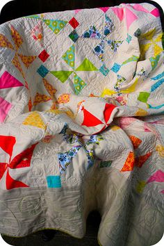 Pinwheels & Postage Stamps Quilt. Beautiful colours