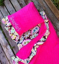 Applique Nap Mat Cover With Attached Minky Blanket