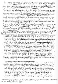 Paul Auster, a manuscript page from ORACLE NIGHT.