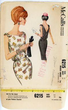 McCalls 6215 Misses 1960s Dress Pattern :)