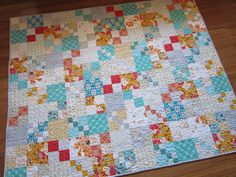 finished Vintage Tangerine quilt by StitchedInColor, via Flickr