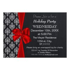 Chalkboard damask red bow Holiday party Invitation #Christmas #Holidays