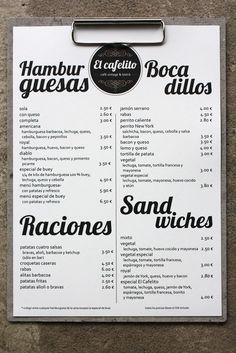 diseño de imagen corporativa logotipo, carta, para un restaurante y café bistró vintage en Hinojedo Cantabria Menu Restaurant, Bar Menu, Restaurant Design, Cafe Bar, Cafe Bistro, Menu Vintage, Cafeteria Menu, Coffee Chart, Vintage Coffee Shops