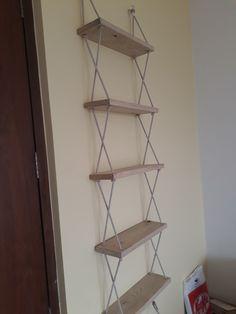 I tried this idea of rope shelves! - : I tried this idea of rope shelves! Rope Shelves, Diy Hanging Shelves, Plant Shelves, Suspended Shelves, Wood Shelf, Floating Shelves, Diy Wall Decor, Diy Home Decor, Room Decor
