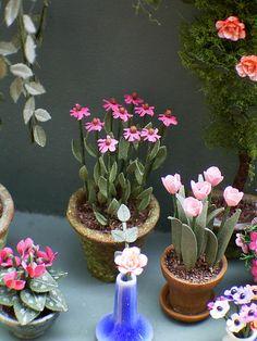 Kit de flores de papel 1/24 equinácea para 1/2 escala de casas de muñecas, floristerías y jardines miniatura