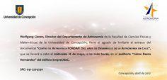 """Miércoles 16 de Mayo / Exhibición del Documental """"Centro de Astrofísica FONDAP: Diez años de desarrollo de la astronomía en chile"""" http://www.agendabiobio.cl/2012/05/exhibicion-del-documental-centro-de-astrofisica-fondap-diez-anos-de-desarrollo-de-la-astronomia-en-chile.html"""