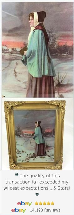 Wow Victorian Hand Painting In Frame Circa 1900s Pretty And Colorful Other Antique Decorative Arts Antiques