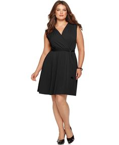 NY Collection Plus Size Dress, Sleeveless Faux Wrap Belted - Plus Size Dresses - Plus Sizes - Macy's