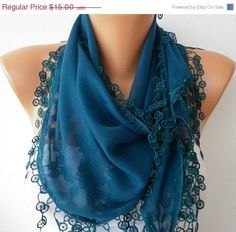 ON SALE Teal Scarf Cotton Scarf Cowl with Lace by fatwoman