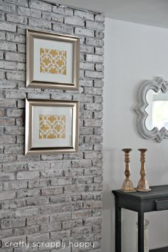White washed brick wall - craftyscrappyhappy.net