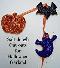 Kids will love making this decorative Halloween Garland using glittery salt dough -- a great kid-friendly way to decorate the house!
