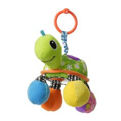 Stroller toy - linkable turtle has fun sounds, bright colors and a mirror belly for peek-a-boo play!