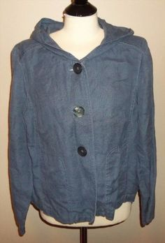 18.36$  Watch here - http://vixak.justgood.pw/vig/item.php?t=e7eh2xc59785 - J Jill Size L 14/16 Hemp Hoodie Jacket Blue Coat Artsy Hippie Boho Gray EUC!