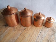Copper Canisters // French vintage Copper Containers - pinned by pin4etsy.com