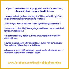 If your child reaches his 'tipping point' and has a meltdown....