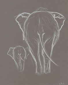 Two Elephant White Pastel Drawing. Original Elephant drawing. Baby elephant with mother.Elephant minimalism sketch.Nursery Art.Wall Art.8x10...