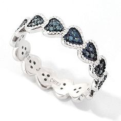 Diamond Treasures® Sterling Silver 0.16ctw Fancy Color Diamond Heart Band Ring