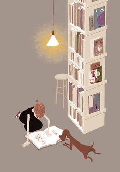 books, girl, and dog