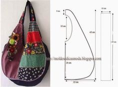 ¡¡ Moldes Moda por Medida: SACOS & DIVERSOS //Tons of bags with measurements on the images., How to sew a summer bag with his hands, This patterThis pattern may work for a jean BoHo bag, see picLove it, add some pockets and it is prefect hobo bag. Sewing Tutorials, Sewing Projects, Sewing Patterns, Patchwork Patterns, Patchwork Quilting, Purse Patterns, Hobo Bag Tutorials, Diy Sac, Diy Bags Purses