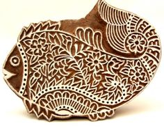 Pisces Fish Indian Wood Block Printing Stamps Hand Carved in India