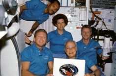 """OTD in 1990, the Hubble Space Telescope is launched on STS-31. The space shuttle pilot on that mission? The future NASA Administrator Charles Bolden. There are a couple of other friends on board, too!   """"Astronaut Loren J. Shriver, mission commander, is at lower left. Astronaut Charles F. Bolden, pilot, floats above. Others, left to right, are Kathryn D. Sullivan, Bruce McCandless II and Steven A. Hawley, all mission specialists. Photo credit: NASA"""""""