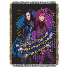 Disney Descendants 2 throw blanket measures 48-inches by 60-inches and is made in the USA