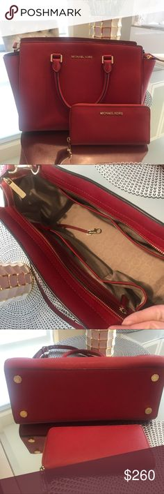 🍓Michael Kors Selma🍓 Beautiful red selma in an excellent condition. Size large. Selling with the wallet ❤️❤️❤️ No scratches or flaws 👍🏻👍🏻👍🏻 Michael Kors Bags