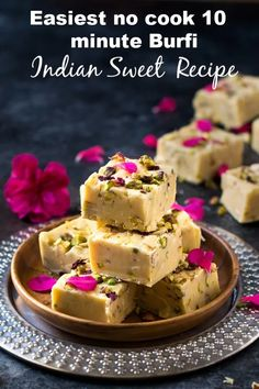 3 main ingredients and 5 minutes prep time is all you need to make this rich and decadent fudge. This fudge recipe has endless variation. Get creative! Makes great edible gifts or last minute treat for pot luck and parties. Easy Indian Dessert Recipes, Indian Desserts, Indian Sweets, Indian Recipes, Fudge Recipes, Sweets Recipes, Holi Recipes, 3 Ingredient Fudge Recipe, Condensed Milk Recipes