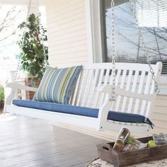 5-ft Weather Resistant Eco-Friendly White Wood Porch Swing with Classic Slat Curved Back