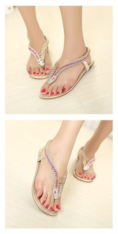 Shining Diamond Special Design Upper Flat Heels Thong Sandals ID 00043099 - Sandals : Paccony.com