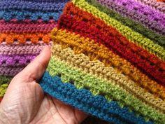 Cosy Stripe Blanket pattern by Lucy of free crochet afghan pattern link Motifs Afghans, Afghan Crochet Patterns, Crochet Stitches, Knitting Patterns, Free Knitting, Beau Crochet, Free Crochet, Knit Crochet, Double Crochet