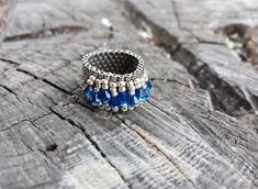 #3dbeadedring, #handmadering, #ring, #handmadejewels, #jewels, #beadedring, #swarovskiring, #evapolart, #handmade Beaded Rings, Beaded Jewelry, Handmade Jewelry, Swarovski Ring, Sapphire, Jewels, Art, Art Background, Bijoux