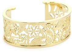 """Rebecca """"Cashmere"""" Yellow Gold Over Bronze Paisley Cuff (medium) REBECCA. $375.00. Embellished with 'Rebecca' logo and 'Made in Italy' stamp. Made in Italy. Yellow gold cuff with paisley cutout pattern Made in IT. Yellow gold cuff with paisley cutout pattern. 18k yellow gold over bronze"""
