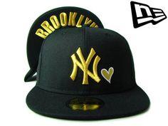"""【ニューエラ】【NEW ERA】59FIFTY ハートシリーズ """"NEW YORK YANKEES"""" アンダーバイザーHEART NY ブラックXゴールド BROOKLYN【ニューヨーク】【NYC】【NY】【GOLD】【black】【黒】【under visor】【MLB】【ヤンキース】【あす楽】【楽天市場】"""