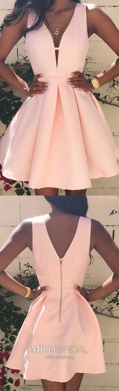 Pink Homecoming Dresses Short,Cheap Prom Dresses For Teens,Cute Homecoming Dresses A-line,V-neck Prom Dresses Satin with Ruffles