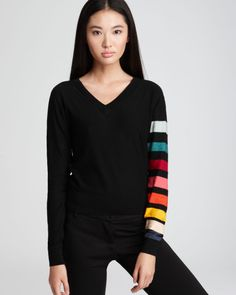 Sonia Rykiel Sonia Rykiel Sweater Rainbow Stripe Sleeve in Black ...