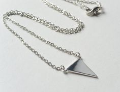 Modern simple minimalist jewelry Everyday Silver Petite triangle pendant charm rhodium silver plated necklace Triangle Pendant Charm Jewelry - pinned by pin4etsy.com