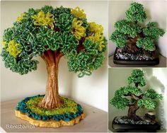 Бисероплетение - Серьезный бонсай и веселое фантазийное дерево из бисера