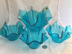 SET (x4) / ARTIC BLUE CHANCE ART GLASS HANDKERCHIEF VASES + Labels / JOB LOT | eBay