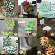 revamp your old office chair into something pretty. We totally need to do this.a few times over. Mobiliario y Sillas de Oficina Office Chair Makeover, Mesh Office Chair, Furniture Makeover, Diy Furniture, Office Chairs, Furniture Refinishing, Refurbished Furniture, Repurposed Furniture, Office Furniture