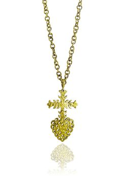 Hammered Brass Mexican Sacred Heart Necklace #jewellery