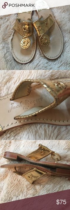 Jack Rogers Hampton Sandal Excellent condition Jack Rogers Hampton sandal. The Hampton sandal is our favorite metallic leather it adds a touch of instant polish to any outfit. Features a rich leather upper with signature whipstitching and rondelles Jack Rogers Shoes Sandals