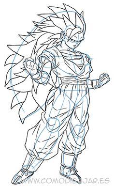 Como Dibujar a Goku SSJ 5 Dios Azul  How to Draw Goku SSJ 5