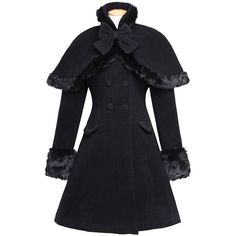 Amazon.com: Nuoqi Sweet Classic Lolita Winter Overcoat Faux Fur Cape... ($134) ❤ liked on Polyvore featuring outerwear, coats, fake fur cape, imitation fur coats, cape shawl, shawl coat and faux fur shawl