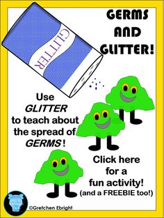 Are you trying to get control of those GERMS spreading around your classroom? This is a great way to get across the message that germs are spread from mouth/nose, to hands, to people and objects - and all while doing a FUN activity with GLITTER! For more details visit my blog at:http://endlessteachingideas.blogspot.com/2016/01/glitter-and-germs-fun-activity.html